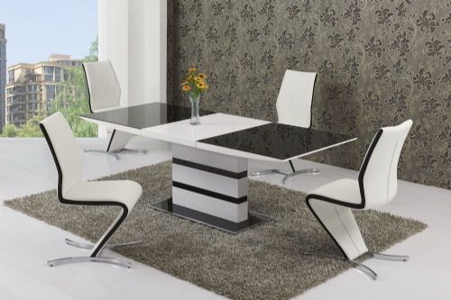 K2 Black & White Small or Large Extending Table & Izabella Chairs